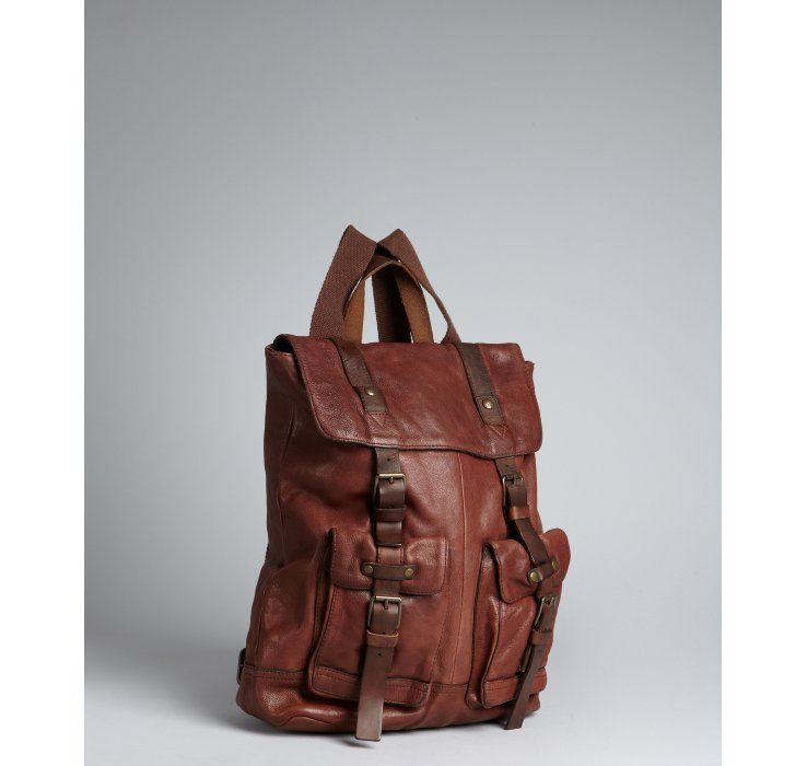 John Varvatos Star USA brown leather buckle backpack | Want: Bags ...