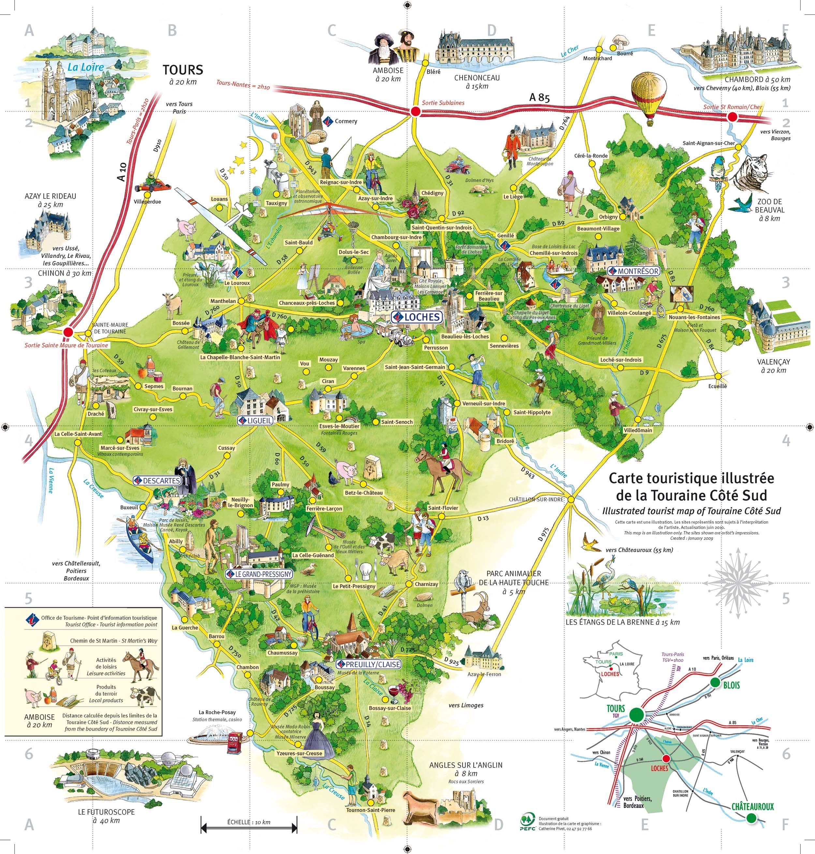 carte de la touraine Carte de la Touraine Côté Sud. Vallée de la Loire | Carte, Parc a