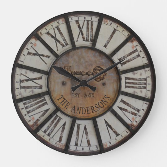 This Large Farmhouse Wall Clock Can Be Personalized With Your Family Name And Established Year For Rustic Industrial Farmhouse Wall Clocks Industrial Farmhouse
