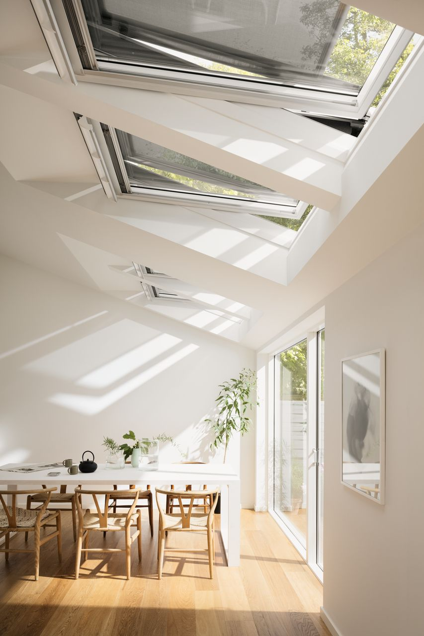 Dining room dreams. Light and airy room with roof windows and blinds ...