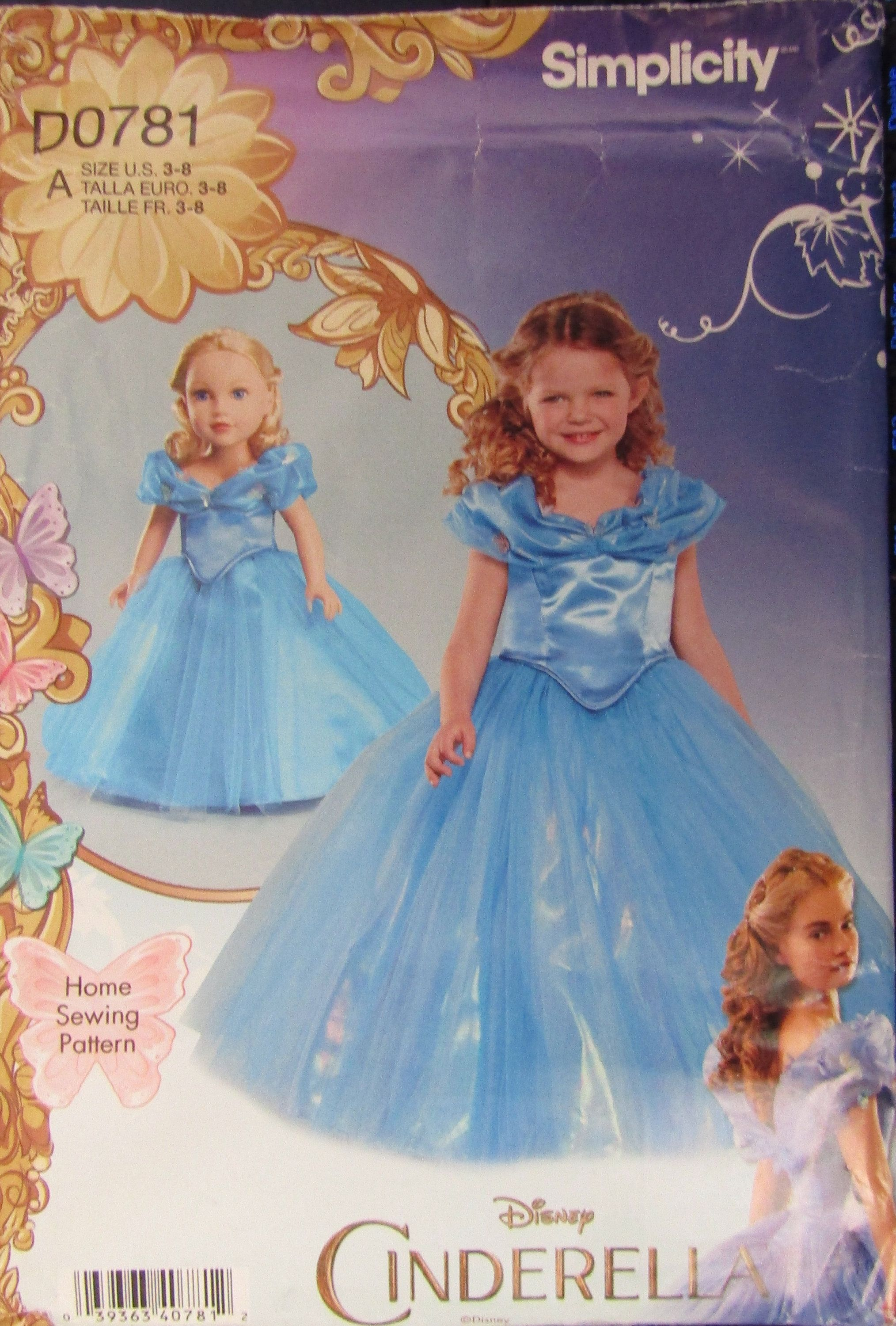Simplicity 0781 Childs Cinderella Costumes Sewing Pattern Etsy Costume Sewing Patterns Cinderella Costume Sewing Patterns