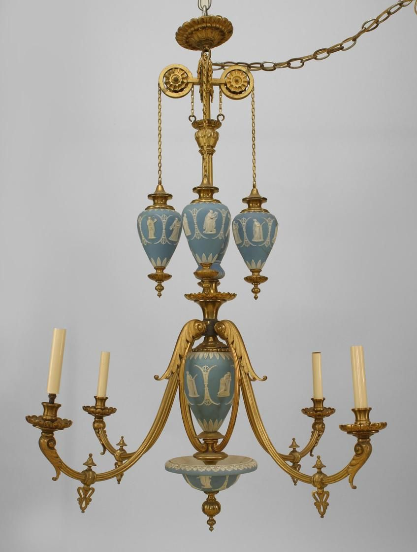 English adam style bronze dore and wedgewood 4 arm chandelier with english adam style bronze dore and wedgewood 4 arm chandelier with 4 hanging wedgwood urns arubaitofo Images