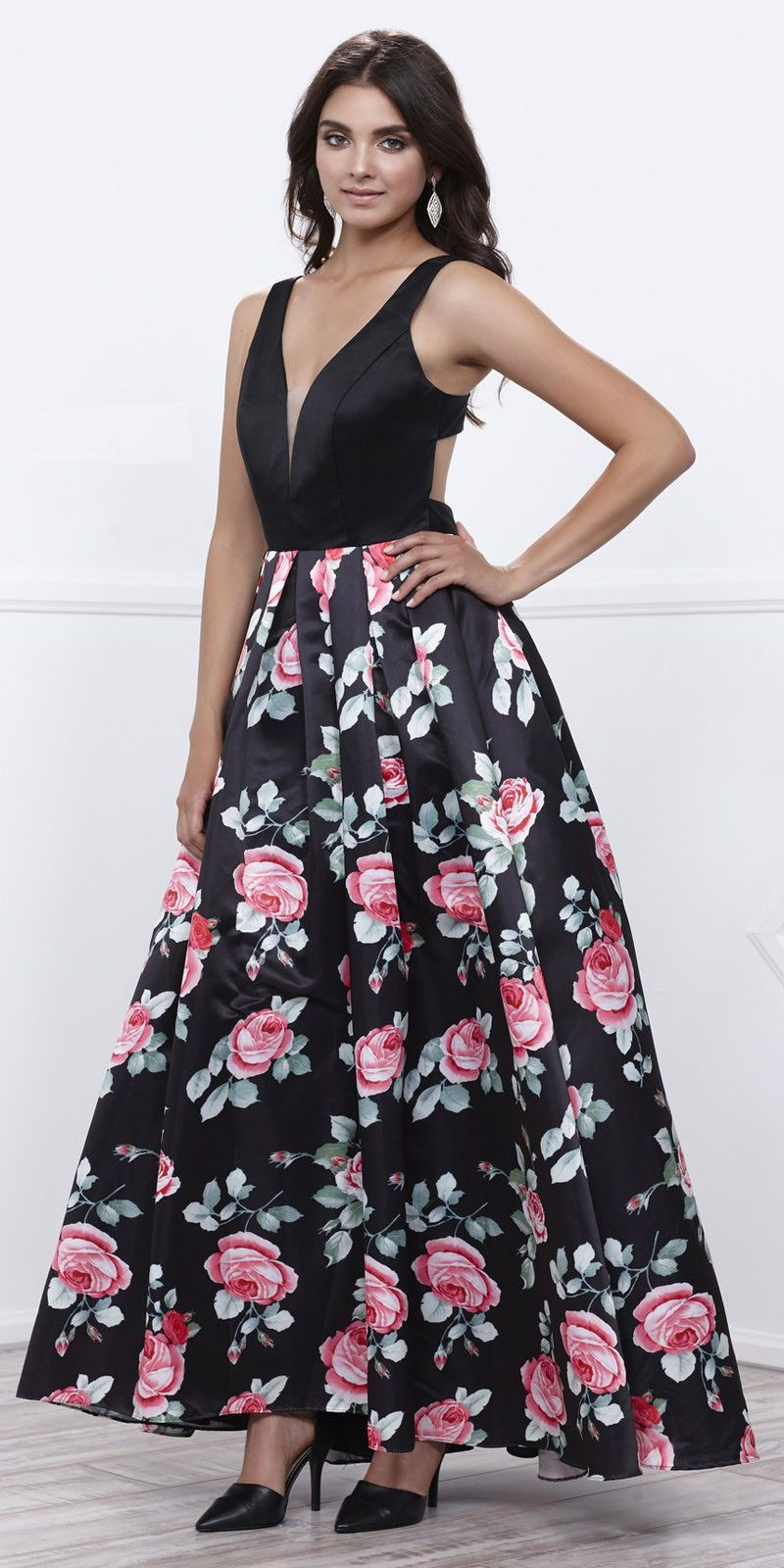 04fef428399 Cut-Out Back Black V-Neck Floral Print Pleated Skirt Prom Gown ...