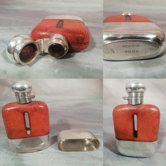 Antique Edwardian Vintage English Silver Plate Glass Pigskin Hip Whiskey Flask C1930 #edwardianperiod