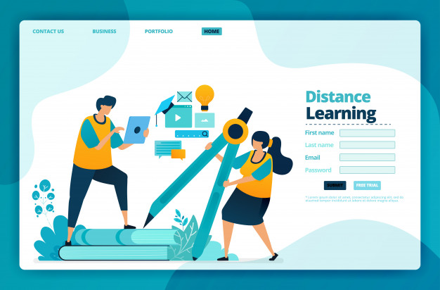 Landing Page Of Distance Learning In 2020 Landing Page Design Page Design Kids Online Learning