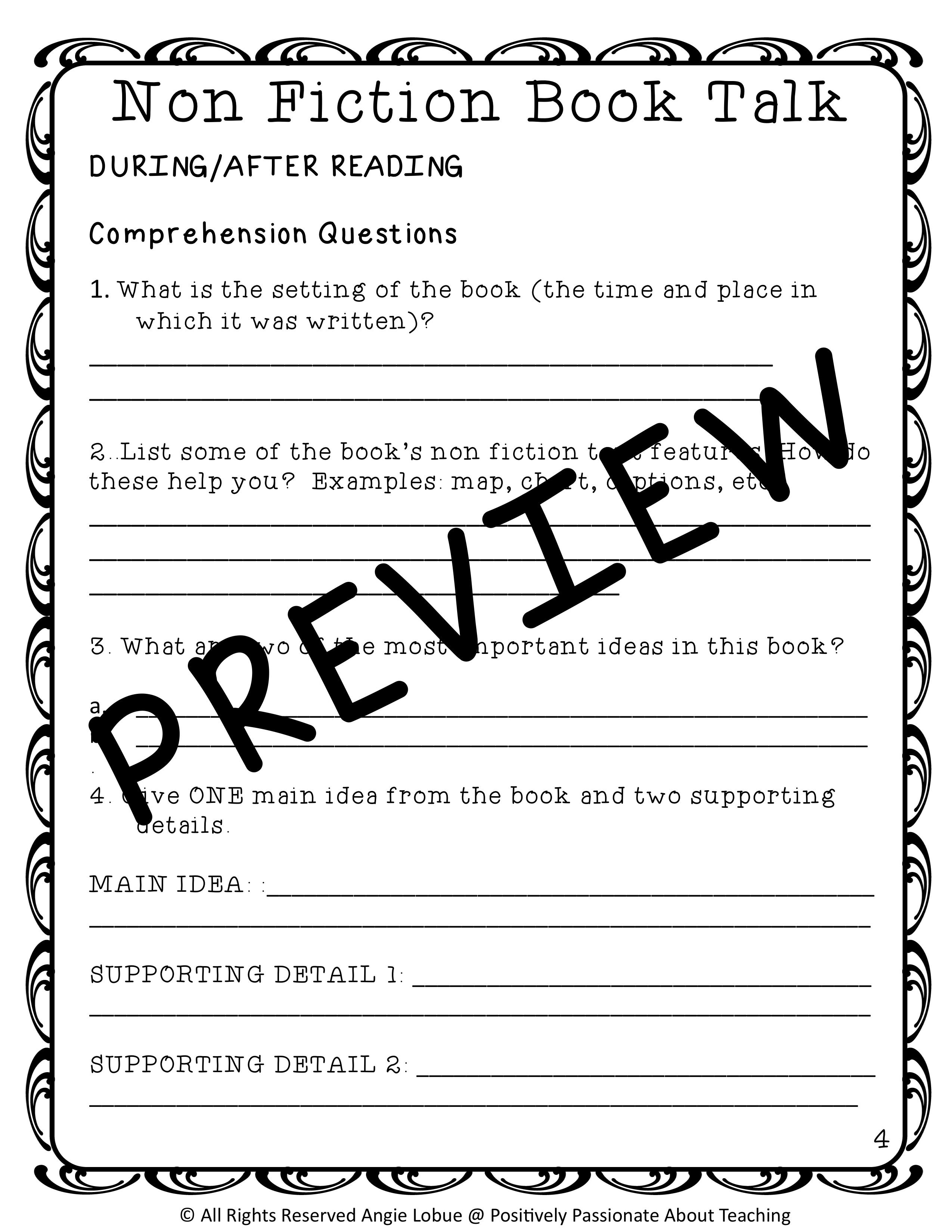 Book Talk Comprehension Questions Amp Vocabulary For Any Non Fiction Book