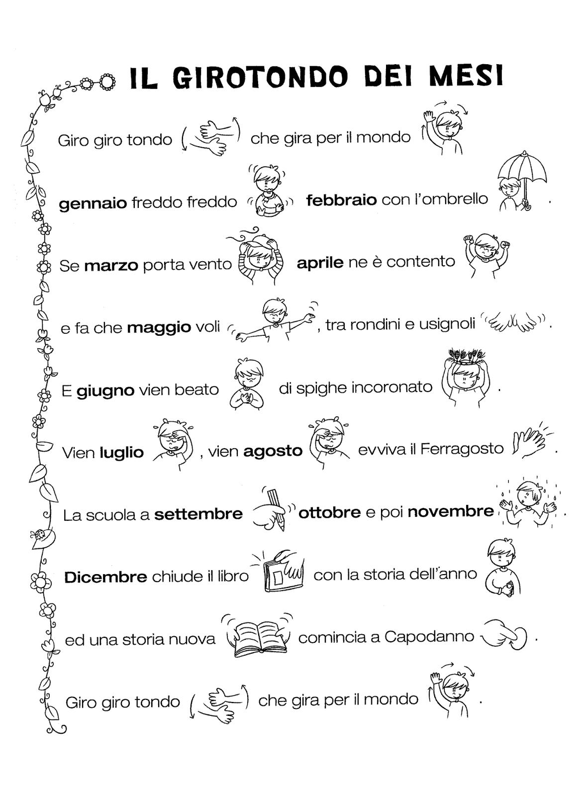 La Maestra Linda Il Girotondo Dei Mesi Scuola Teaching