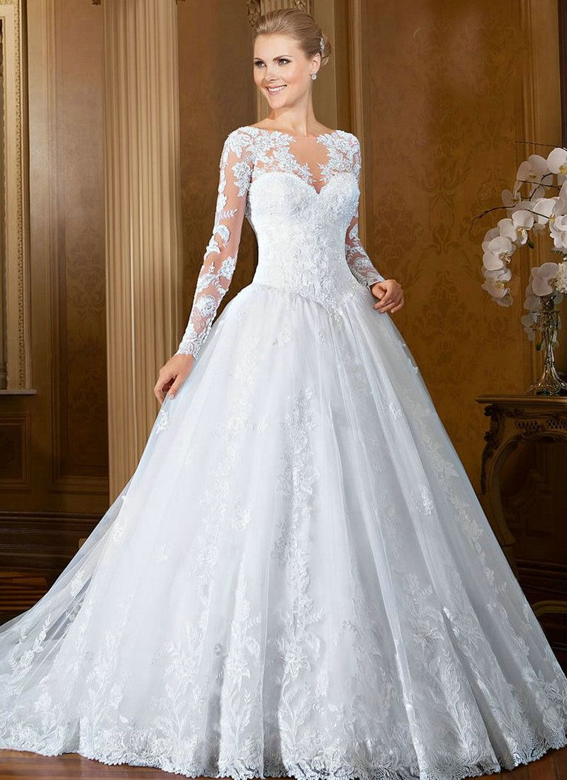 White Wedding Dresses With Long Sleeves