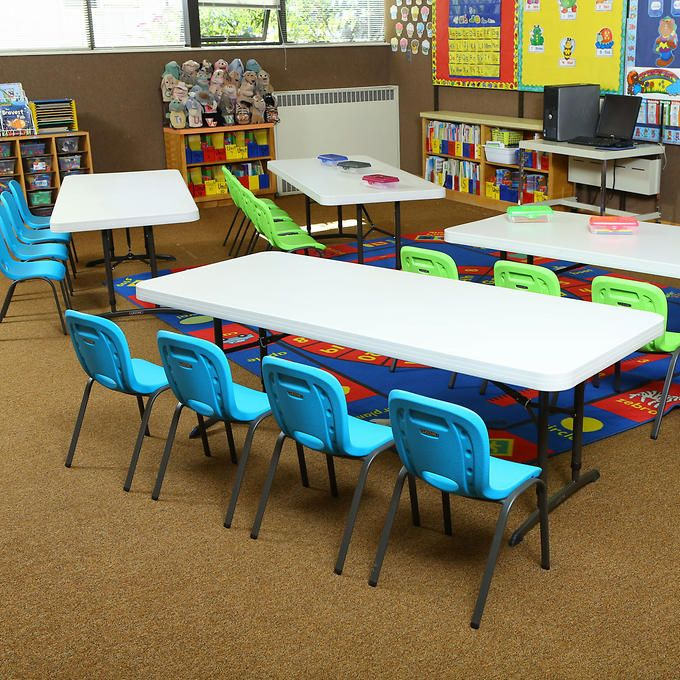 Home Daycare Design Ideas: Lifetime 6' Folding Tables With Stacking Kid's Chairs, 4