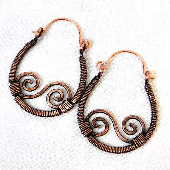 Wire wrapped antiqued copper hoop earrings with a beautiful s-shaped ...