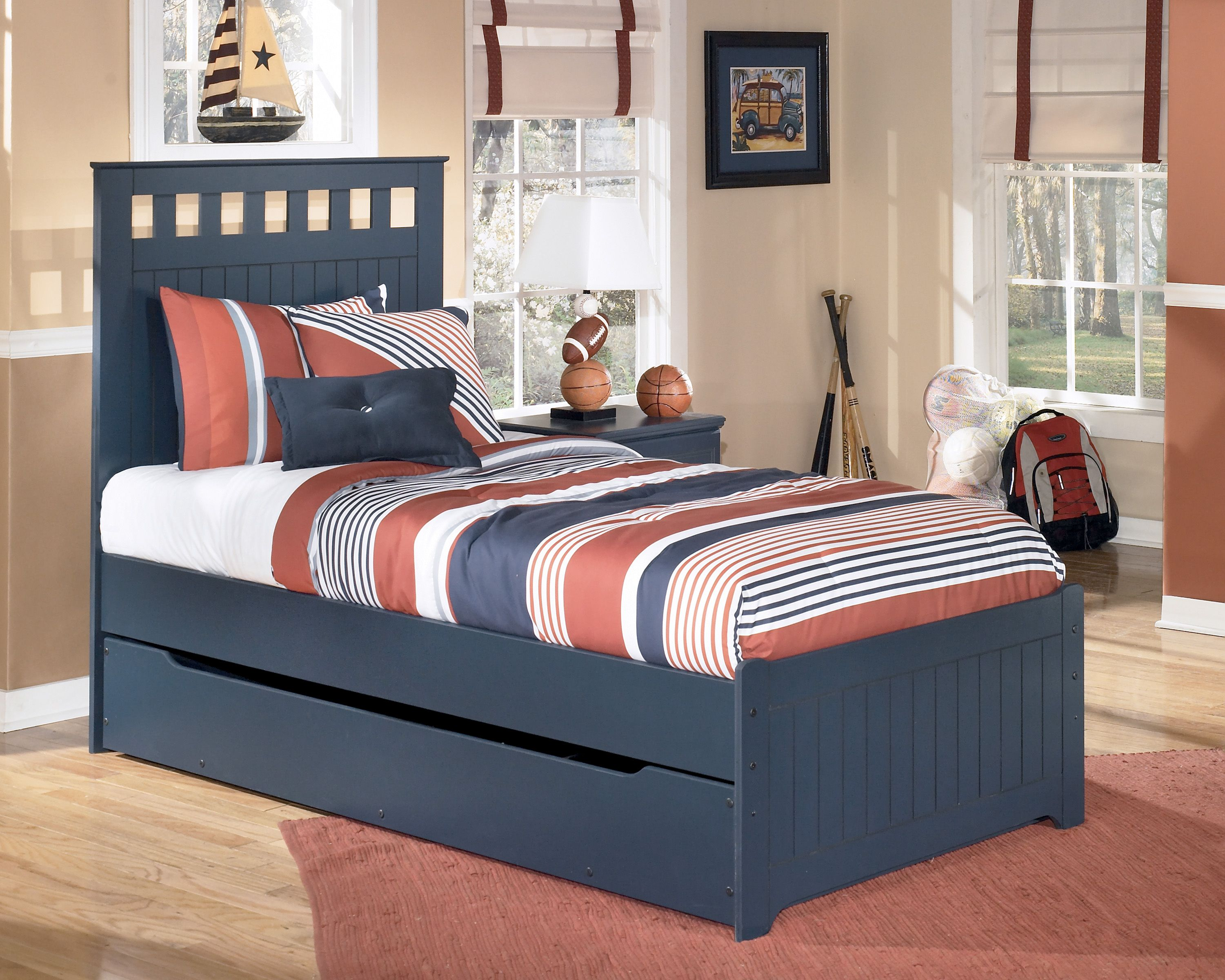 Leo Twin Panel Bed with Trundle Under Bed Storage in Blue
