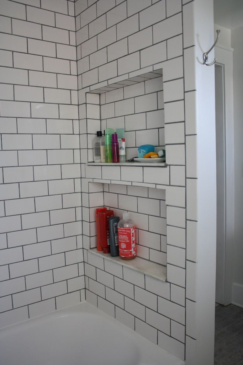 Subway Tile Shower With Black Grout And Recessed Shelves. Very Nice!