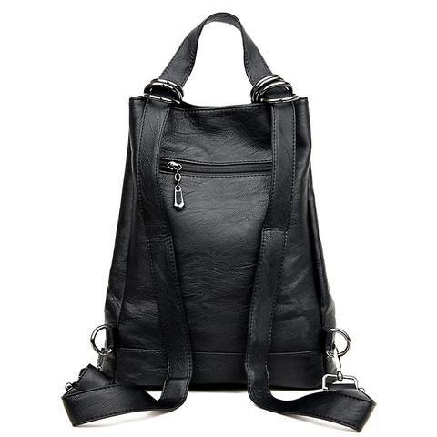 Black Multifunctional Backpack Women Vintage Backpacks for Teenage Girls  Large Bags Designer Bagpack Woman Luxury Back Pack 2018 33d36397ebe0c