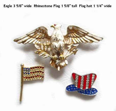 3 Magnets Upcycled Brooches Pins Patriotic Eagle by SoBejeweled, $10.00