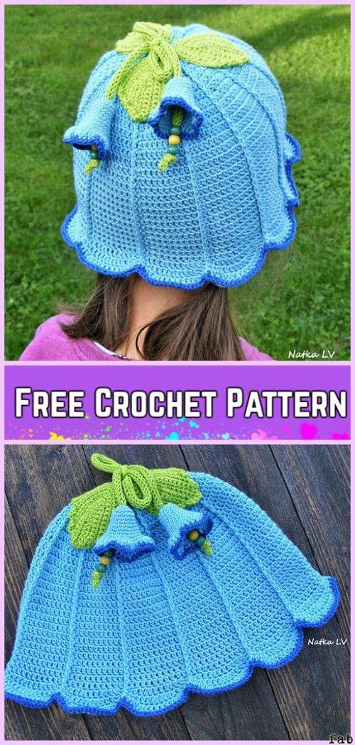 Crochet Girls BlueBell Flower Sun Hat Free Pattern with Video ...