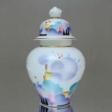Philipp Rosenthal: Deckelvase mit Spritzdekor des Art Déco, Früchtekorb, Vase