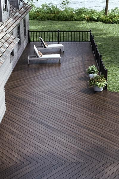 Herringbone Wood Deck Fence Inspiration The Home Depot Canada