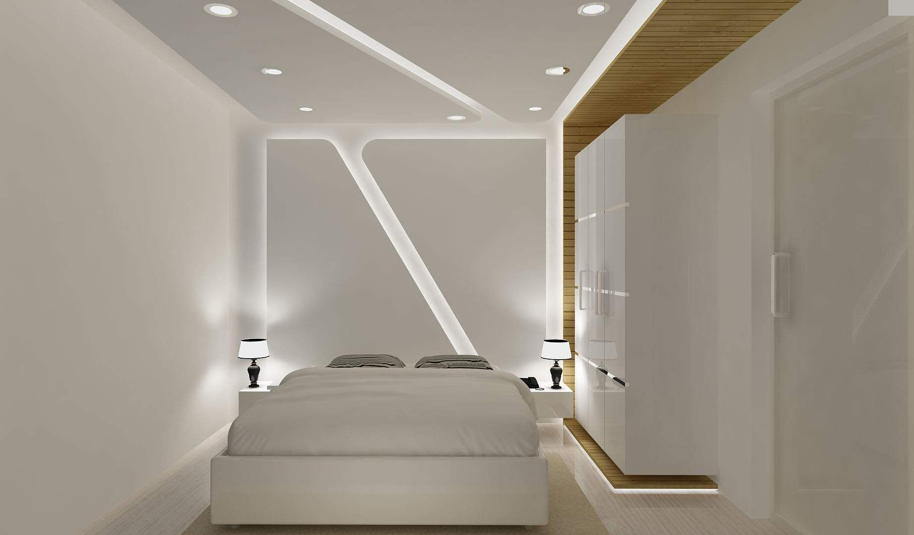 White luxury bedrom design by interior designer gaurav for Bedroom designs delhi