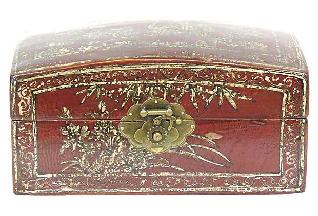 Secret Box w/ Latch, Red & Gold Brush on OneKingsLane.com