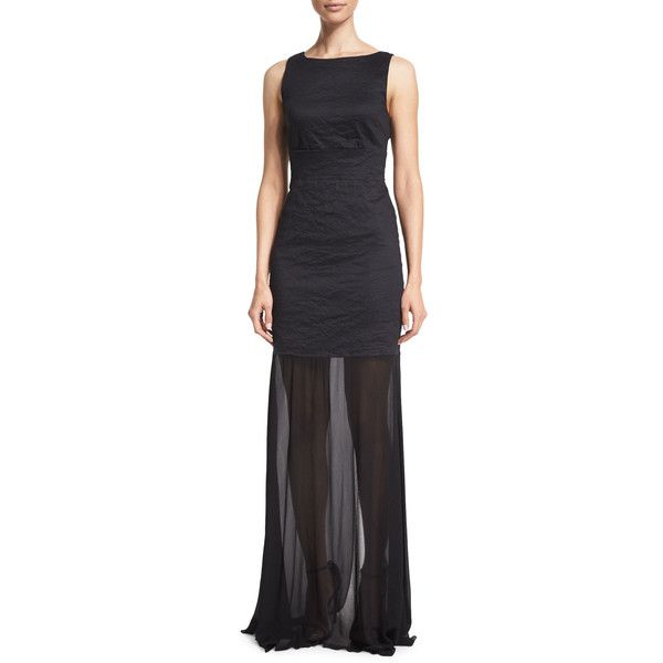 Nicole Miller Sleeveless Back-Tie Gown (610 SAR) ❤ liked on ...