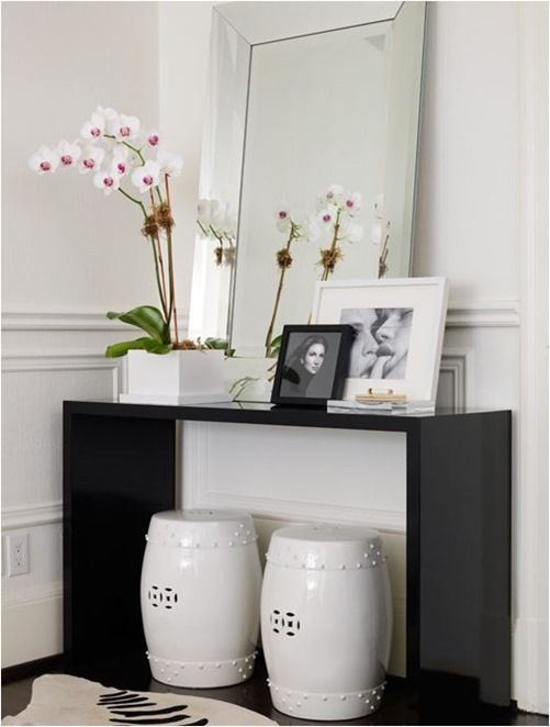 black modern console table unusual white black modern foyer entrance design with glossy lacquer console table white garden stools zebra cowhide rug console chinese stools via centsational girl ideas