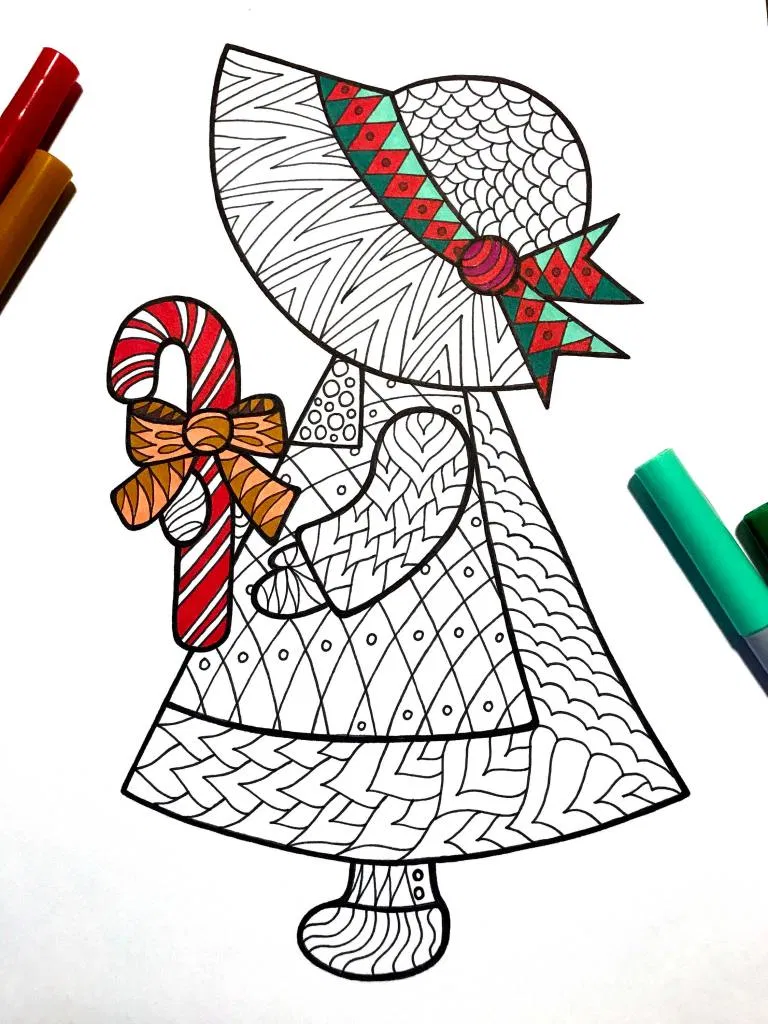 Christmas Goose with Apples Zentangle coloring page | Free ... | 1024x768