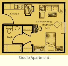 Studio apartment layout digital tour photos pinterest for Studio apartment floor plans furniture layout