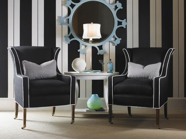 Pareti A Righe Bianche E Nere : Black and white wing chairs jewel this chair from century