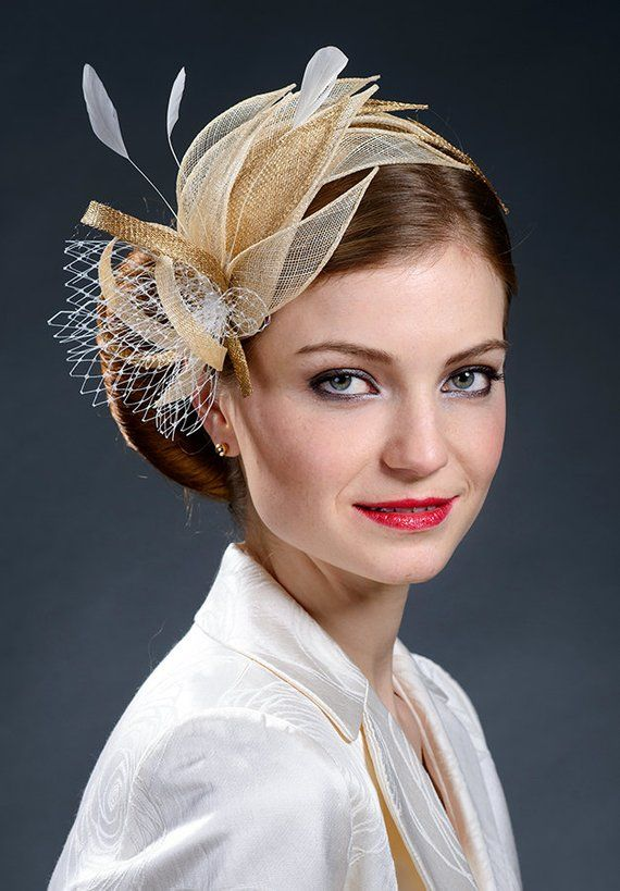 da29aa2d Beige, champagne gold and gold fascinator hat for weddings, Ascot ...