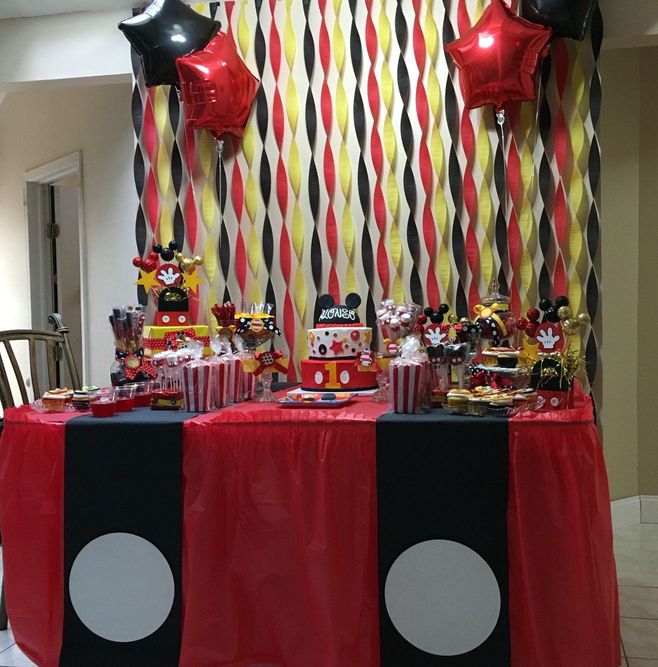 Mickey Mouse Candy Table For 1st Birthday Party Mickey Mouse Party Decorations Mickey Mouse First Birthday Mickey Mouse Parties