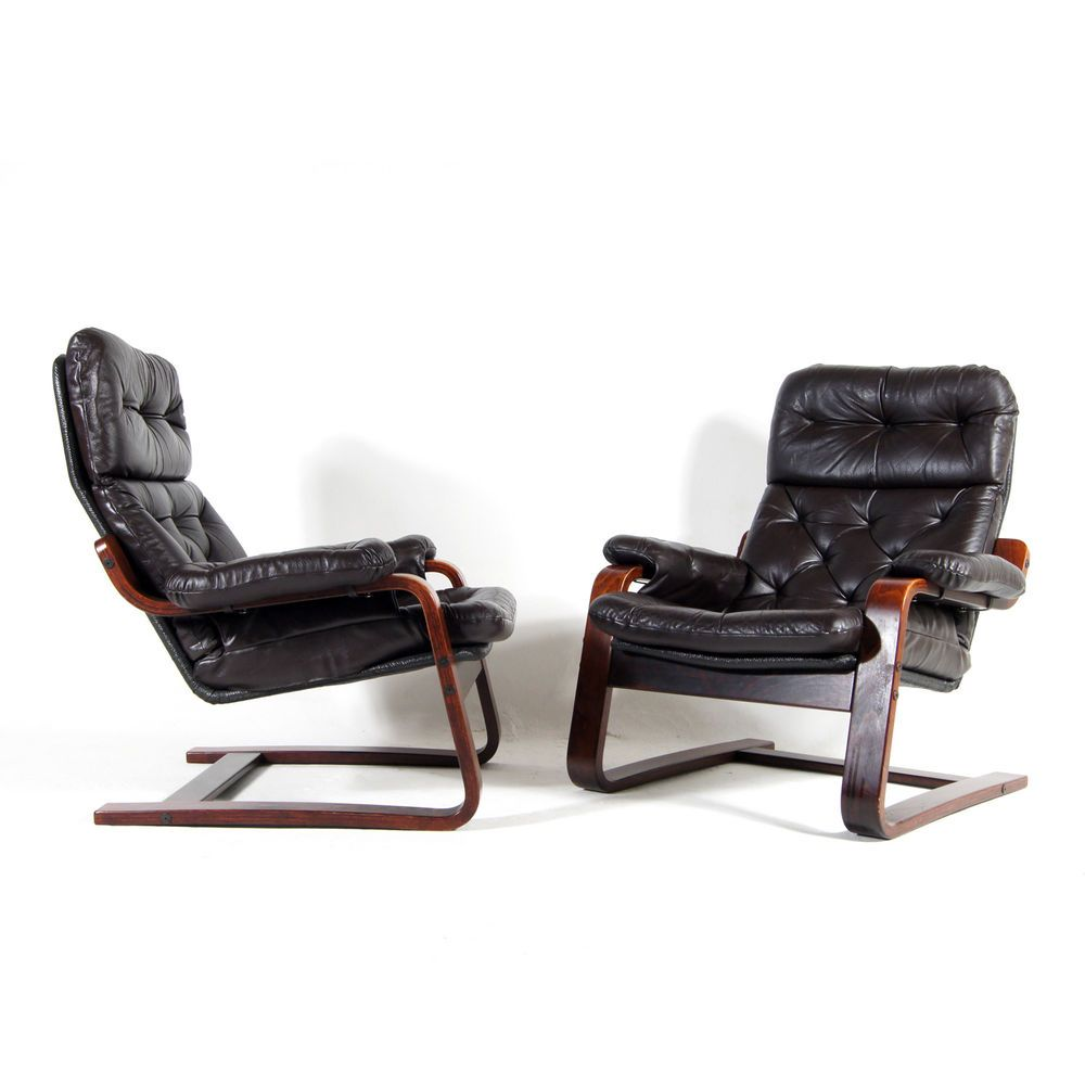 1 Of 4 Retro Vintage Danish Leather Lounge Armchair Chair 60s 70s Rosewood Meubels