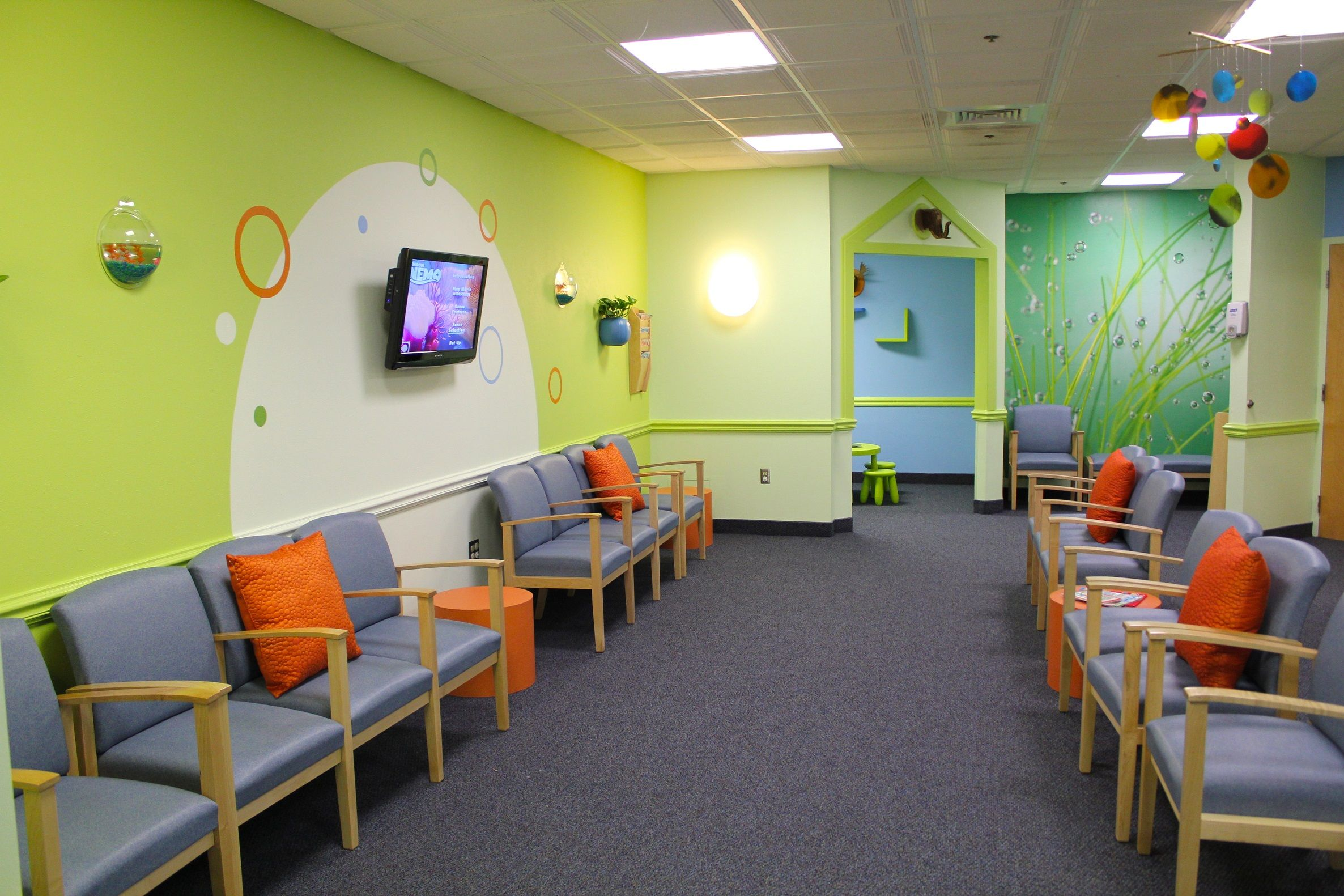 Kid dental chairs - Holliston Pediatric Group By Chic Redesign Kid Friendly Waiting Room For Pediatric Practice And Hospital