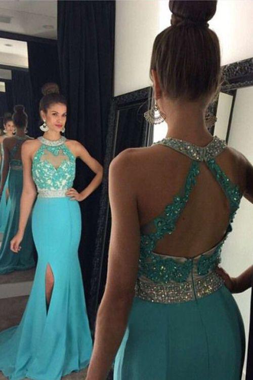 2f180bbfdc4 Sexy Mermaid Light Blue Sequins Empire Cross Back Slit Prom Dress Mermaid Prom  Dresses