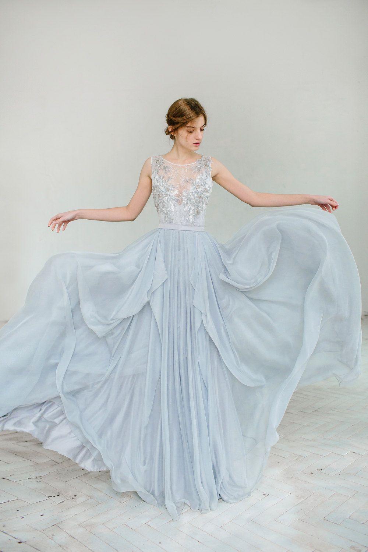 Silver grey wedding dress // Lobelia / Silk bridal gown, open back ...