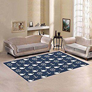 Amazon Com Interestprint Nautical Anchor Blue Whale Area Rug Cover 7 X 5 Feet Sea Ocean Animal Throw Rugs In Living Room Living Room Carpet Rugs On Carpet