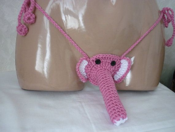 32c2f2d9cc66 Pink Crochet Elephant Sexy Men's Thong, Men thongs string Handmade, Men  Gift Underwear, Elephant Tho