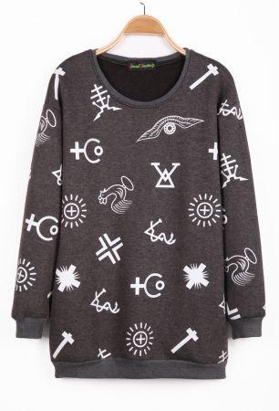 Grey Long Sleeve Symbol Print Sweatshirt
