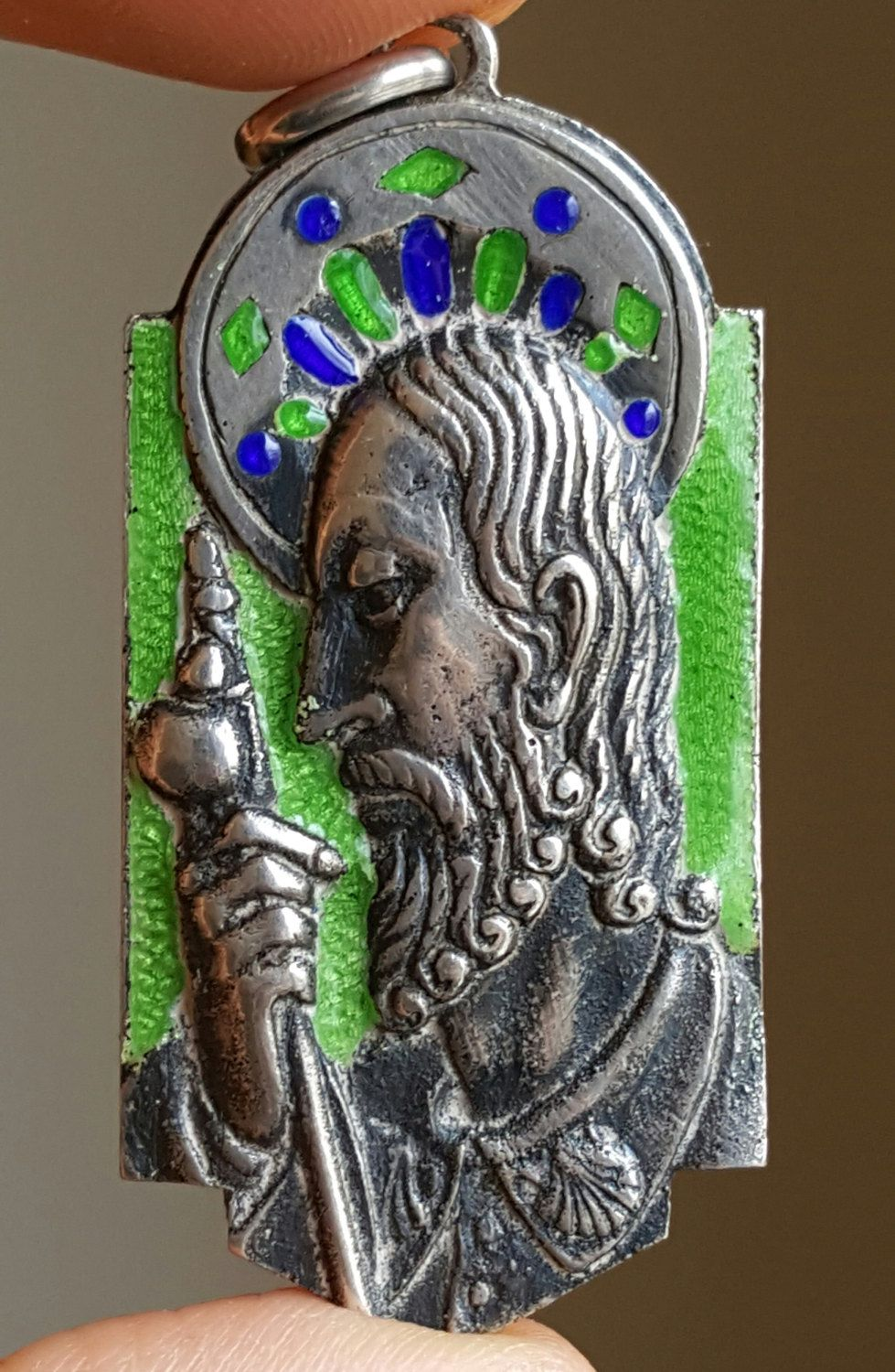 Vintage Spanish Silver And Enamel Saint James Santiago Medal Pendant Religious Catholic