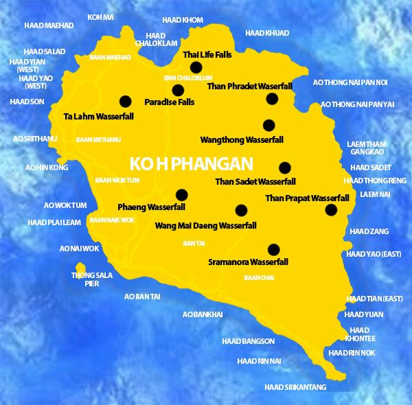 Koh Phangan Thailand Map.Map With Waterfalls On Kohphangan Map Thailand The Best Place
