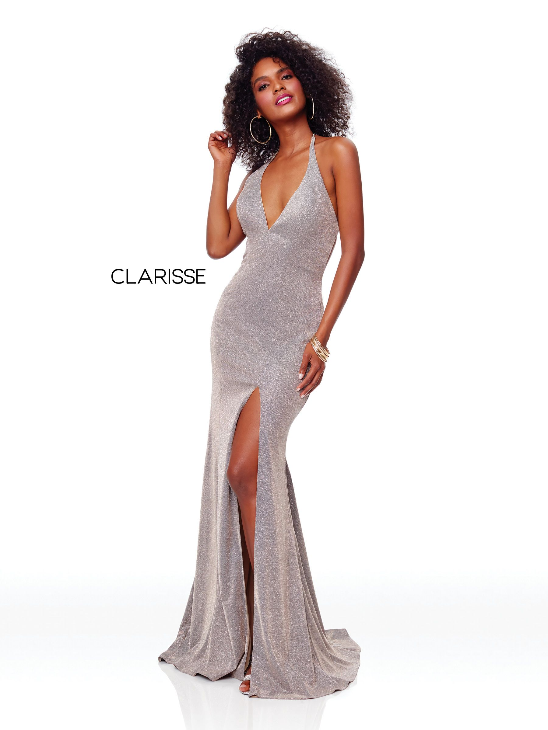 8fdcc2c039 3790 - Mink fit to flare prom dress with a plunge neckline and low cut open  back