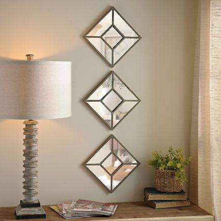 Diamond Beaded Mirror, Set of 7  Mirror sets wall decor, Mirror