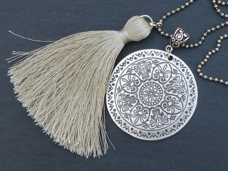 Chic Antique Métal Maille Perles Tchèque Cristaux Tassel Collier Long