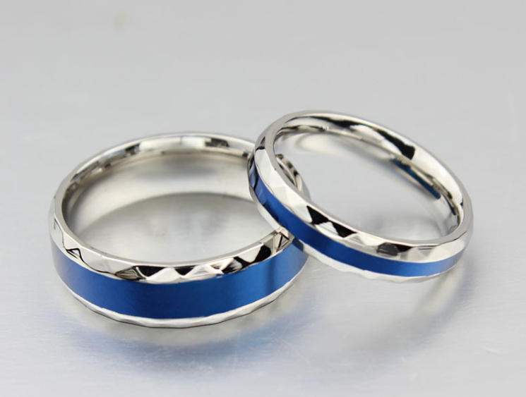 Thin Blue Line Couples Wedding Ring