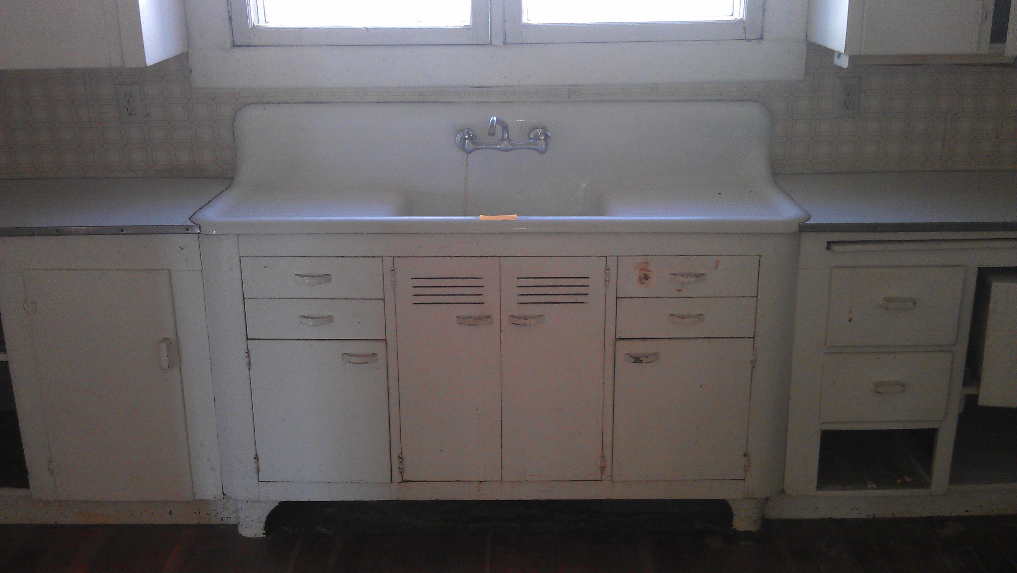 Vintage Kitchen Sink Cabinet mounted double drain board farm sink | vintage single basin double