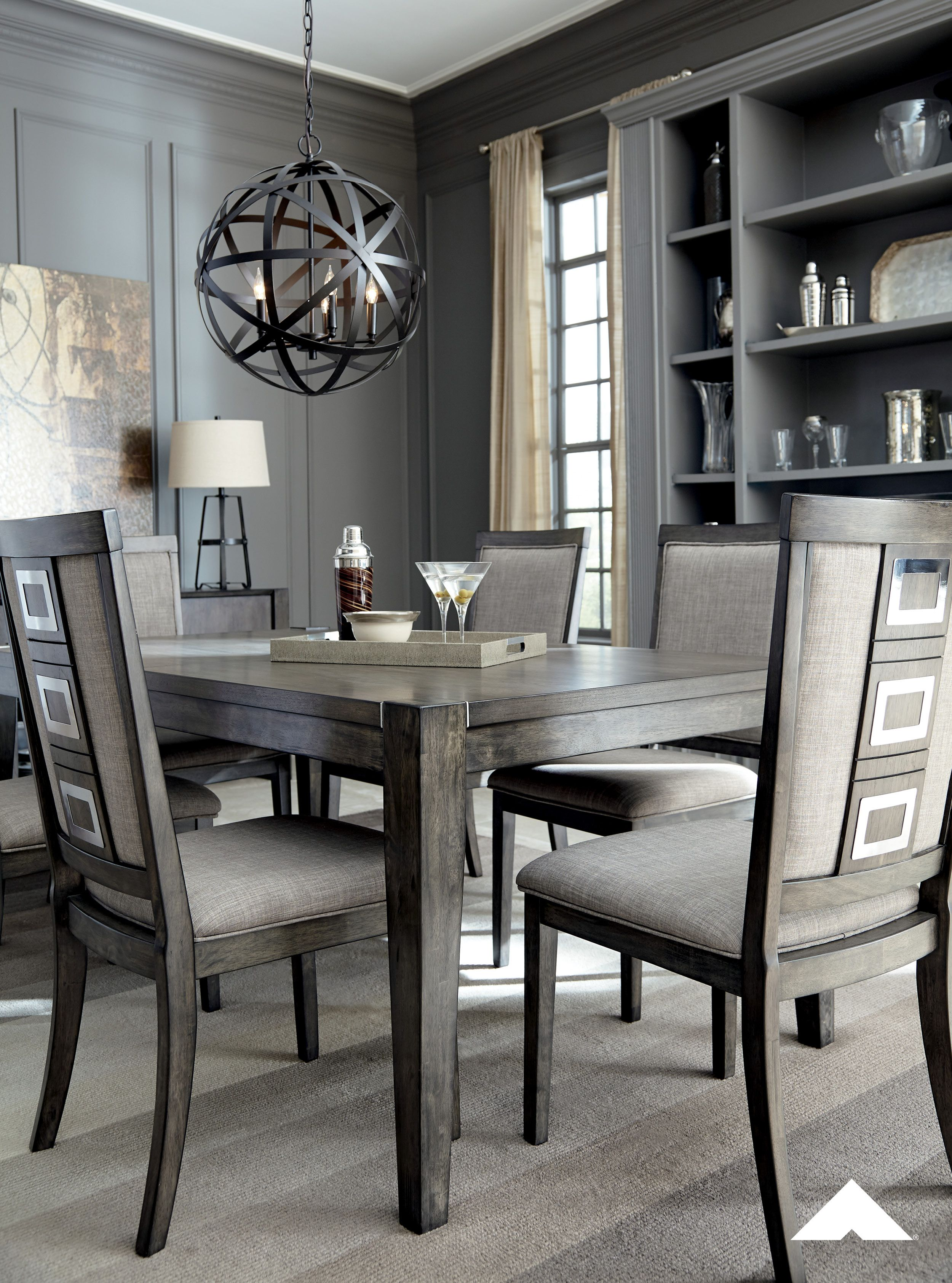 Chadoni Silver Dining Room Table And Side Chairs By Ashley