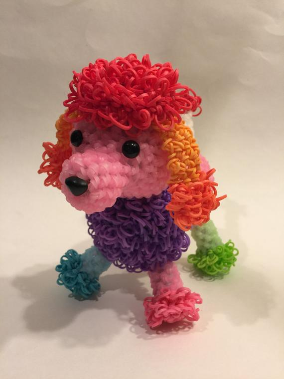 Rainbow Color Changing Poodle Rubber Band Figure Rainbow Loom
