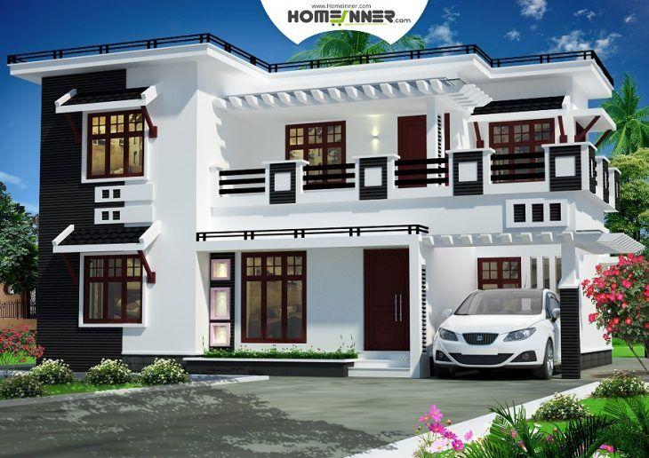 Modern Black And White Style Contemporary Villa Design In 2232 Sqft Indian Home Design House Design Photos Home Design Plans