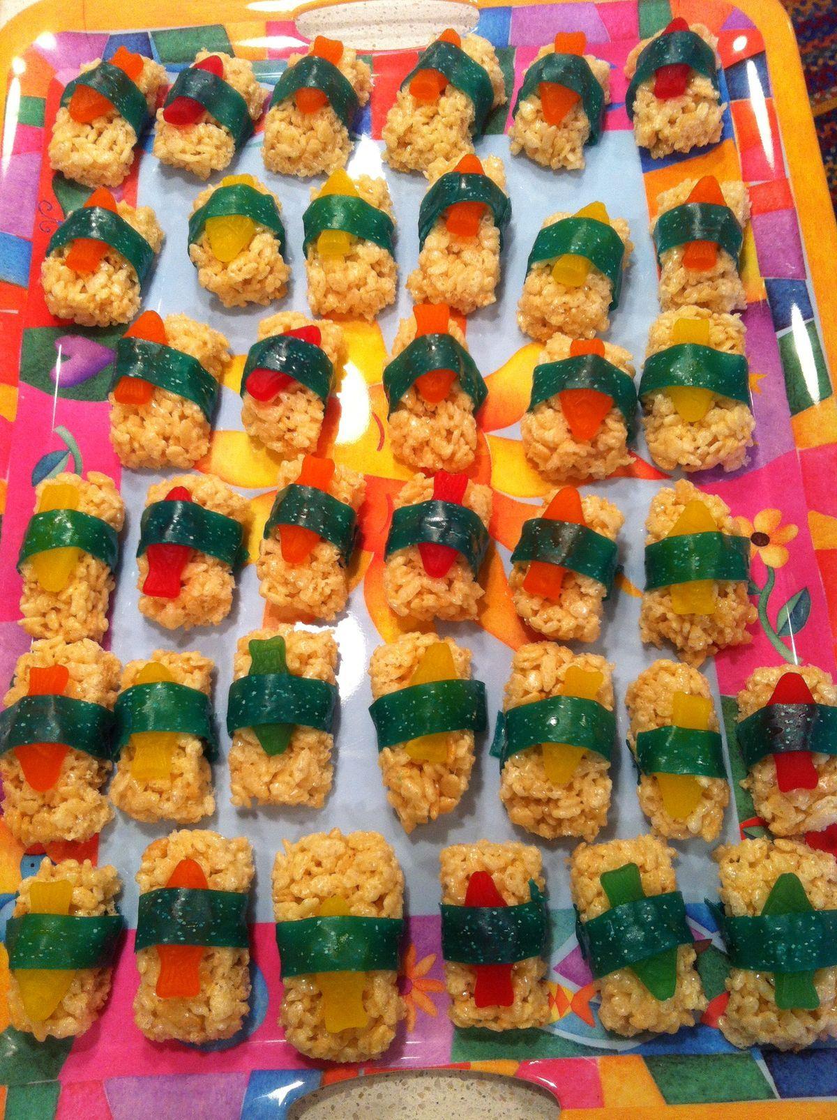 Candy Sushi Krispy treats, Swedish fish, & fruit by the