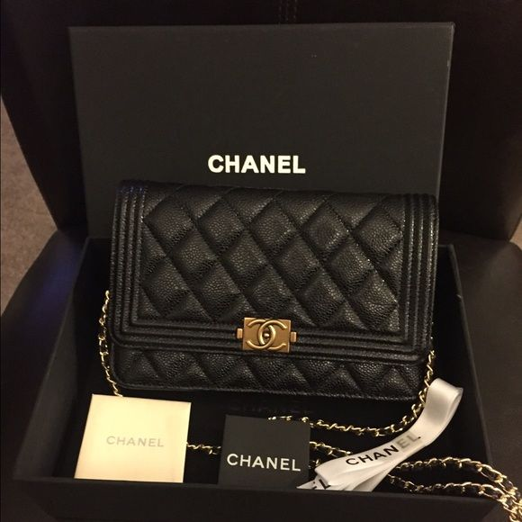 af655a5ebfd3 Chanel boy wallet on chain in caviar gold hardware Brand new
