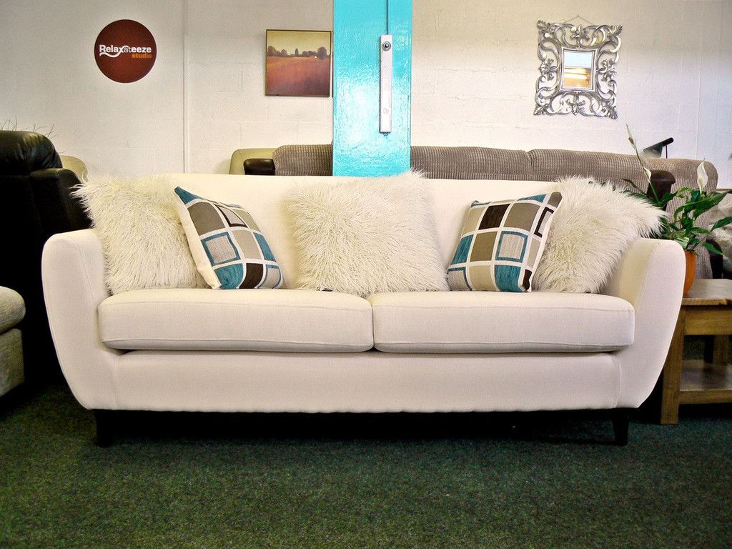 NEW Charlie Cream Fabric Seater Retro Style Sofa With Contrast - Where to buy cheap sofas